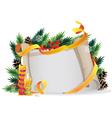 Christmas wreath with candles and paper scroll vector image vector image