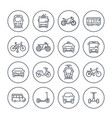 city transport icons set on white vector image vector image