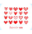 colorful watercolor red hearts isolat vector image vector image