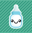 cute kawaii smiling milk bottle cartoon icon vector image vector image