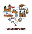 czech republic symbols traveling and tourism vector image vector image