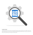 dice icon search glass with gear symbol icon vector image