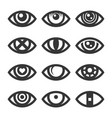 eye icon set on white background vector image vector image