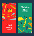 flat construction tools web banner vector image vector image