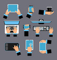 hands holding different computer devices laptop vector image vector image