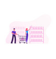 happy couple making purchases in store woman vector image vector image