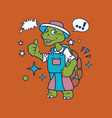 hipster turtle cartoon t shirt design vector image vector image