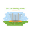 jumping trampoline flat realistic icon vector image vector image