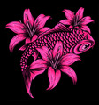 koi fish with flower on black background vector image vector image