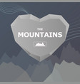 logo for the company heart and stone mountains vector image vector image