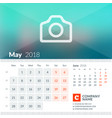 may 2018 calendar for 2018 year week starts on vector image vector image