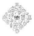 monochrome poster of coffee shop with several vector image vector image