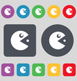 pac man icon sign A set of 12 colored buttons Flat vector image vector image