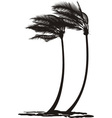 palm trees in the wind vector image