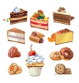 pastry set in cartoon style vector image
