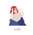 portrait cute young woman feeling dizziness vector image