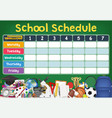 school schedule timetable with student items vector image vector image