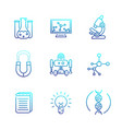 science icons set line style vector image vector image