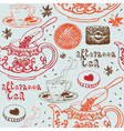Seamless background with tea and sweets vector image vector image