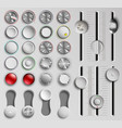 set of buttons and faders volume control vector image