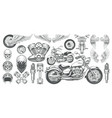 set of icons of vintage vector image
