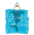 shark in ocean blue waves background vector image