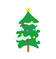 snowy christmas round spruce tree with star vector image