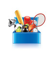 Sport objects box isolated vector image