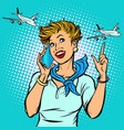 stewardess at the airport talking on the phone vector image vector image
