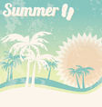 Summer holiday card with palm trees and flip flops vector image