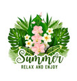 summer tropical holiday floral poster design vector image vector image