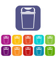 trash can icons set vector image vector image