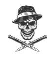 vintage gangster skull in fedora hat vector image vector image