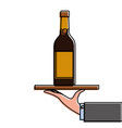 waiter hand holding tray with wine bottle vector image vector image