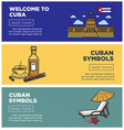 welcome to cuba internet promo pages templates set vector image vector image