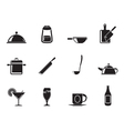 Silhouette food and drink icons vector image