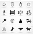 baby icons set black on white background vector image