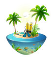 diving in tropical sea off paradise island beach vector image