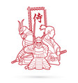 3 samurai composition with flag vector image vector image