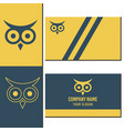 a company logo and business card with an owl vector image