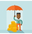 African-american businessman with umbrella as vector image