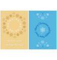 beige and blue greeting cards for christmas vector image