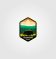 bison on yellowstone national park logo vector image vector image