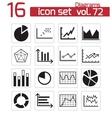 black diagrams icons set vector image vector image