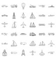 Blimp icons set outline style