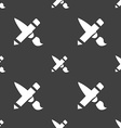Brush Icon sign Seamless pattern on a gray vector image