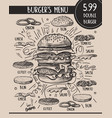burger menu with composition products vector image vector image