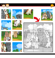 cartoon dogs jigsaw puzzle game vector image vector image