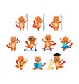 cartoon funny ginger cats activity set vector image vector image
