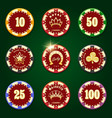 casino chip set vector image vector image